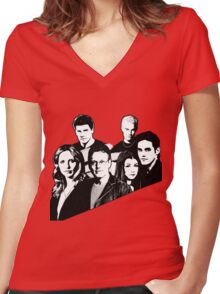 A BTVS motif Women's Fitted V-Neck T-Shirt