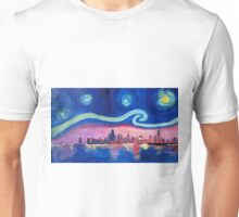 Starry Night in Chicago Illinois with Lake Michigan and Van Gogh Inspirations Unisex T-Shirt
