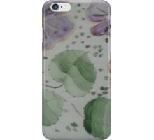 purple flowers and green leaves iPhone Case/Skin