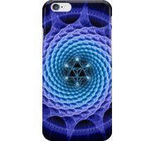Merkaba Spiral Mandala Blue  ( Fractal Geometry ) iPhone Case/Skin