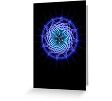 Merkaba Spiral Mandala Blue  ( Fractal Geometry ) Greeting Card