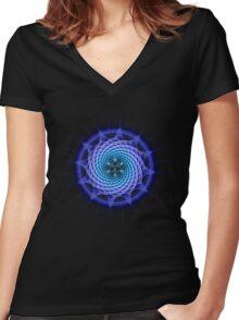 Merkaba Spiral Mandala Blue  ( Fractal Geometry ) Women's Fitted V-Neck T-Shirt