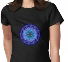 Merkaba Spiral Mandala Blue  ( Fractal Geometry ) Womens Fitted T-Shirt