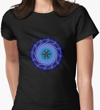 Merkaba Spiral Mandala Blue  ( Fractal Geometry ) Womens Fitted T-Shirt