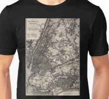 0293 Railroad Maps Map of New York City Brooklyn and vicinity shewing sic suburban lines of Long Island Railroad and its Unisex T-Shirt