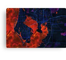 Dark map of Tampa Bay Canvas Print
