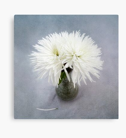 Fancy White Mums in a Green Vase Canvas Print