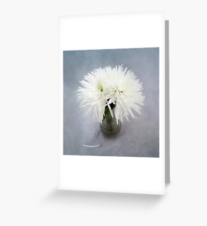 Fancy White Mums in a Green Vase Greeting Card