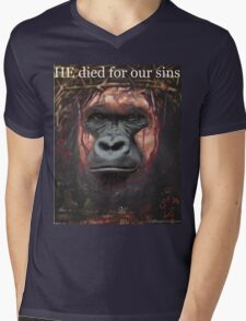 Harambe Jesus- HE died for our sins! Mens V-Neck T-Shirt