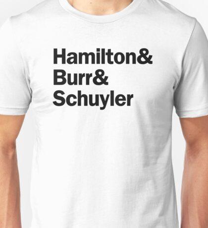 Hamilton - Hamilton & Burr & Schuyler | White Unisex T-Shirt