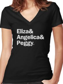 Hamilton - Eliza & Angelica & Peggy | Black Women's Fitted V-Neck T-Shirt