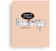 Retro lady in biplane, vintage apricot, pink, airplane Canvas Print