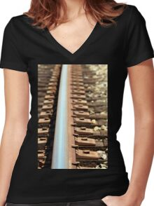 Train Track Women's Fitted V-Neck T-Shirt
