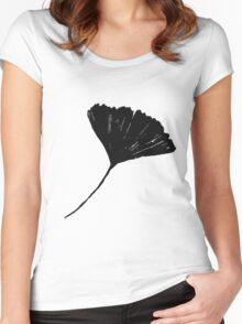 Ginkgo biloba, Lino cut nature inspired leaf pattern Women's Fitted Scoop T-Shirt