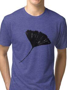 Ginkgo biloba, Lino cut nature inspired leaf pattern Tri-blend T-Shirt