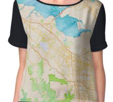 Watercolor map of Silicon Valley Chiffon Top