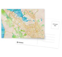 Watercolor map of Silicon Valley Postcards