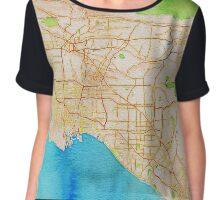 Watercolor map of Los Angeles Chiffon Top
