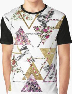 Chic Floral Gold Marble Geometric Triangles Graphic T-Shirt