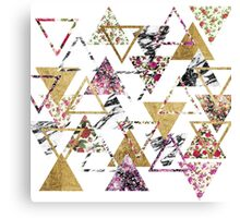 Chic Floral Gold Marble Geometric Triangles Canvas Print