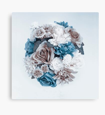 Taupe Blue Flower Mandala Canvas Print