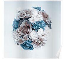 Taupe Blue Flower Mandala Poster