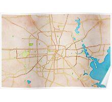 Watercolor map of Houston metropolitan area Poster