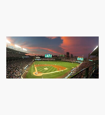 Wrigley Field at Night Photographic Print
