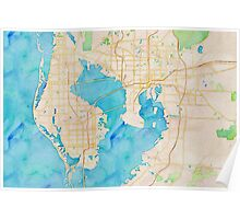 Watercolor map of Tampa Bay Poster