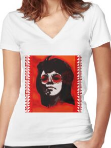 Mary Wells - Dia de los Muertos Day Of The Dead Soul Oldies  Women's Fitted V-Neck T-Shirt