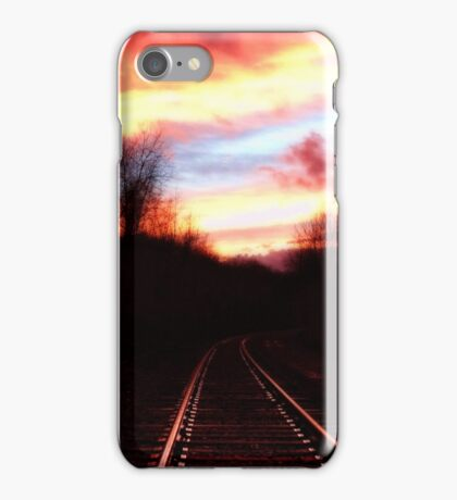 sunset on the rails iPhone Case/Skin