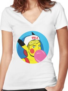 PikaBro Pop Art Women's Fitted V-Neck T-Shirt