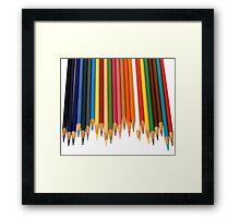 Coloured Pencils Isolated On White Framed Print