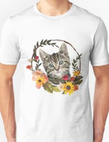 Flower Wreath Kitten Unisex T-Shirt