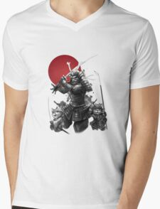 Samurai Neko Mens V-Neck T-Shirt