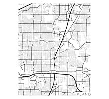 Plano Map, USA - Black and White Photographic Print