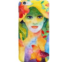 Rainbow Girl bright lovely colorful fantasy watercolor original iPhone Case/Skin