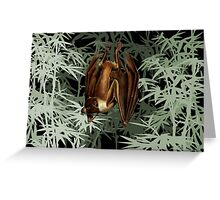 Flying Fox Bat in Bamboo Forest Greeting Card