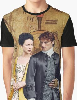 Jamie & Claire with clock background Graphic T-Shirt