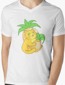Pineapple Cat Mens V-Neck T-Shirt