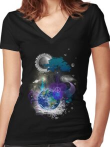 Cosmic geometric peace Women's Fitted V-Neck T-Shirt