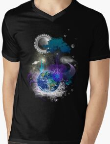 Cosmic geometric peace Mens V-Neck T-Shirt