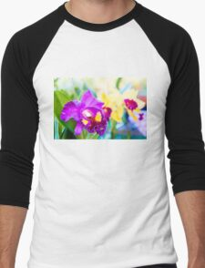 Close up shot on colorful Cattleya Orchids Men's Baseball ¾ T-Shirt