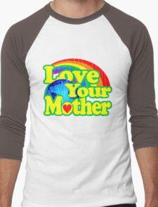 Love Your Mother (Vintage Distressed Design) Men's Baseball ¾ T-Shirt