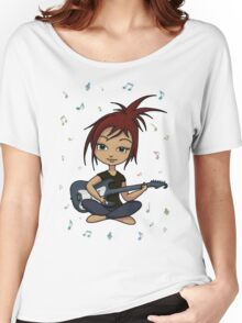 Guitar Chick (version 1, with music notes) Women's Relaxed Fit T-Shirt