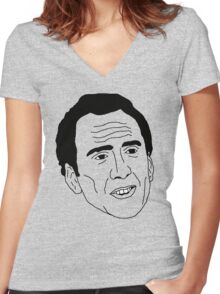 Badly Drawn Nic Cage Women's Fitted V-Neck T-Shirt