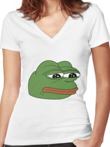 Pepe the Sad Frog Women's Fitted V-Neck T-Shirt