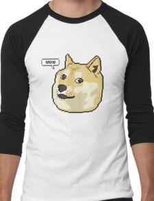 wow pixel shibe doge Men's Baseball ¾ T-Shirt