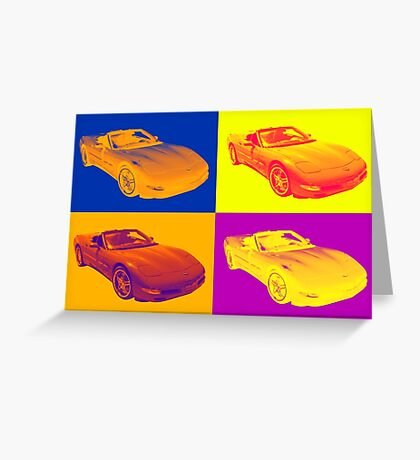 C5 Corvette convertible Muscle Car Pop Art Greeting Card