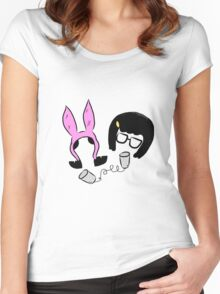Tina And Louise Belcher Bobs Burgers Print Women's Fitted Scoop T-Shirt